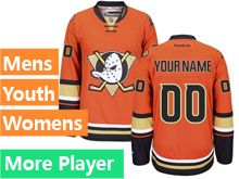 Mens Women Youth Reebok Anaheim Ducks Orange Alternate Premier Current Player Jersey