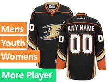 Mens Women Youth Reebok Anaheim Ducks Black Home Premier Current Player Jersey