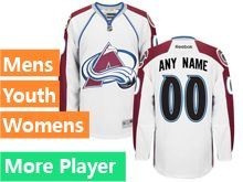 Mens Women Youth Reebok Colorado Avalanche White Away Premier Current Player Jersey
