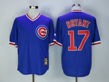 Mens Majestic Chicago Cubs #17 Kris Bryant Blue Pullover Throwbacks Jersey