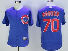 Mens Majestic Mlb Chicago Cubs #70 Joe Maddon Blue Flex Base Jersey