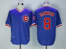 Mens Mlb Chicago Cubs #8 Dawson Blue Throwbacks Jersey