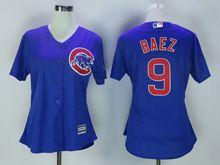 Women Majestic Chicago Cubs #9 Javier Baez Blue Jersey