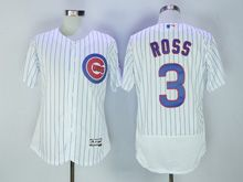 mens majestic chicago cubs #3 ross white stripe Flex Base jersey