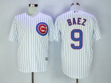 Mens Majestic Chicago Cubs #9 Javier Baez White Stripe Cool Base Jersey