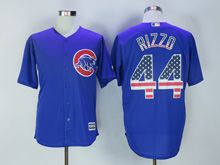 Mens Majestic Chicago Cubs #44 Anthony Rizzo Blue Usa Flag Jersey