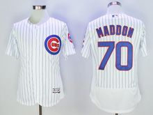 Mens Majestic Chicago Cubs #70 Joe Maddon White Stripe Flex Base Jersey