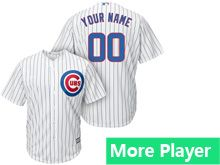 Mens Women Youth Majestic Chicago Cubs Custom Made White Stripe Cool Base Jersey