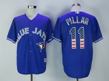 Mens Majestic Toronto Blue Jays #11 Kevin Pillar Blue Usa Flag Jersey