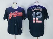 Mens Mlb Cleveland Indians #12 Francisco Lindor Navy Blue Usa Flag Jersey