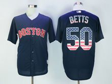 Mens Mlb Boston Red Sox #50 Betts Blue Usa Flag Jersey