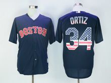 Mens Majestic Mlb Boston Red Sox #34 David Ortiz Navy Blue Usa Flag Jersey