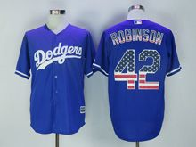 Mens Majestic Mlb Los Angeles Dodgers #42 Ackie Robinson Blue Usa Flag Jersey