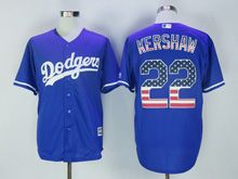 Mens Majestic Mlb Los Angeles Dodgers #22 Clayton Kershaw Blue Usa Flag Jersey