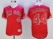 Mens Majestic Los Angeles Angels #44 Reggie Jackson Red Flex Base Jersey