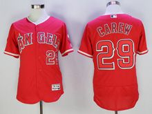Mens Majestic Los Angeles Angels #29 Carew Red Flex Base Jersey