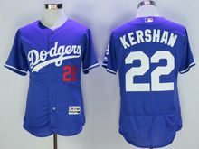 Mens Majestic Los Angeles Dodgers #22 Clayton Kershaw Blue Flex Base Jersey