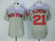 Mens Majestic Boston Red Sox #21 Roger Clemens Gray Flex Base Jersey