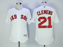Mens Majestic Boston Red Sox #21 Roger Clemens White Flex Base Jersey