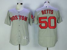 Mens Majestic Boston Red Sox #50 Mookle Betts Gray Flex Base Jersey