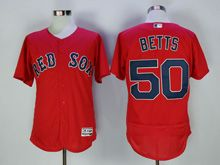 Mens Majestic Boston Red Sox #50 Mookle Betts Red Flex Base Jersey