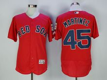 Mens Majestic Mlb Boston Red Sox #45 Pedro Martinez Red Flex Base Jersey