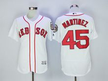 Mens Majestic Mlb Boston Red Sox #45 Pedro Martinez White Flex Base Jersey