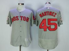 Mens Majestic Mlb Boston Red Sox #45 Pedro Martinez Gray Flex Base Jersey