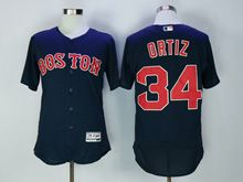 Mens Majestic Boston Red Sox #34 David Ortiz Navy Blue Flex Base Jersey