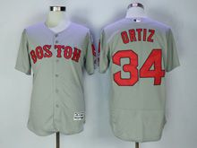 Mens Majestic Boston Red Sox #34 David Ortiz Gray Flex Base Jersey