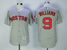 Mens Majestic Mlb Boston Red Sox #9 Ted Williams Gray Flex Base Jersey