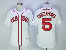 Mens Majestic Boston Red Sox #5 Garciaparra White Flex Base Jersey