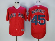 Mens Majestic Mlb Boston Red Sox #45 Pedro Martinez Red Cool Base Jersey