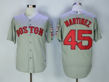 Mens Majestic Mlb Boston Red Sox #45 Pedro Martinez Gray Cool Base Jersey