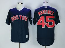 Mens Majestic Mlb Boston Red Sox #45 Pedro Martinez Blue Cool Base Jersey