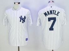 Mens Mlb New York Yankees #7 Mickey Mantle White Stripe 75 Anniversary Jersey