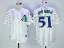 Mens Mlb Arizona Diamondbacks #51 Randy Johnson White Stripe 2001 Throwbacks Jersey