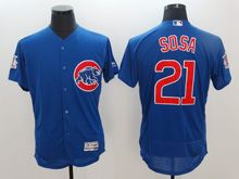 Mens Majestic Chicago Cubs #21 Sosa Blue Flex Base Jersey
