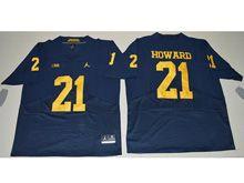 Mens Ncaa Nfl Jordan Brand Michigan Wolverines #21 Desmond Howard Navy Blue Elitejersey