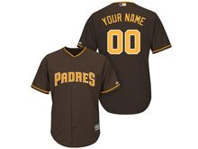 Mens Majestic Mlb San Diego Padres Custom Made Brown Cool Base Jersey