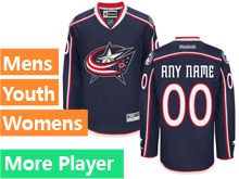 Mens Women Youth Reebok Columbus Blue Jackets Navy Home Premier Current Player Jersey