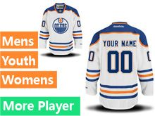 Mens Women Youth Reebok Edmonton Oilers White Away Premier Current Player Jersey