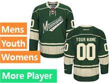 Mens Women Youth Reebok Minnesota Wild Green Alternate Premier Current Player Jersey