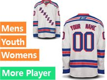 Mens Women Youth Reebok New York Rangers White Away Premier Current Player Jersey