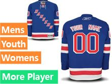 Mens Women Youth Reebok New York Rangers Blue Home Premier Current Player Jersey