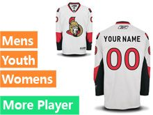 Mens Women Youth Reebok Ottawa Senators White Away Premier Current Player Jersey