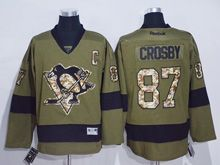 Mens Nhl Pittsburgh Penguins #87 Sidney Crosby Green C Patch Jersey