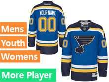 Mens Women Youth Reebok St.louis Blues Blue Home Premier Current Player Jersey