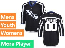 Mens Women Youth Reebok Tampa Bay Lightning Black Alternate Premier Current Player Jersey