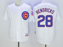 Mens Mlb Chicago Cubs #28 Kyle Hendricks White Stripe Cool Base Jersey